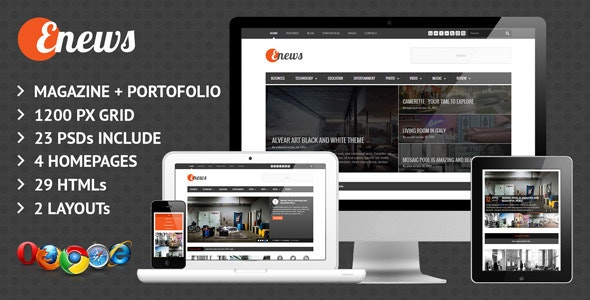 Enews Responsive News & Portofolio Template - Portfolio Creative