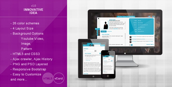 Innovative Idea – Personal vCard HTML5 Theme - Virtual Business Card Personal