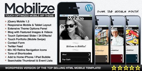 Mobilize - jQuery Mobile WordPress Theme - Mobile WordPress