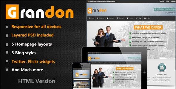 Grandon Multi-Purpose HTML Template - Corporate Site Templates