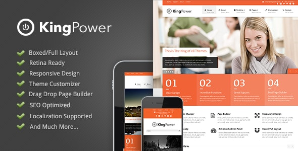 King Power - Retina Ready Multi-Purpose Theme - Corporate WordPress