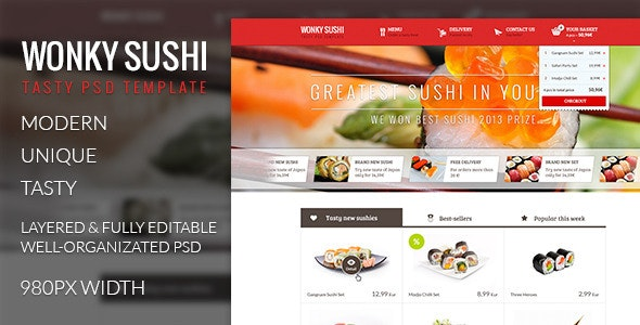 Wonky Sushi - Tasty PSD Template - Food Retail