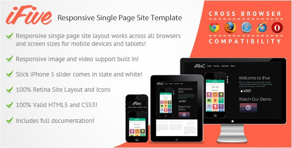 iFive Responsive Single Page App Site Template - Marketing Corporate