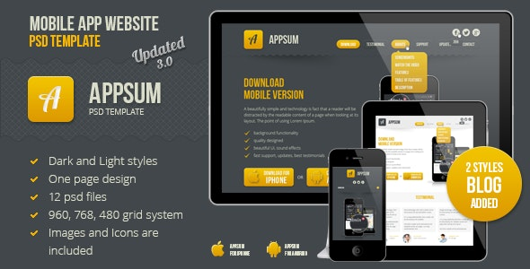 Appsum - OnePage Mobile APP PSD Template - Software Technology
