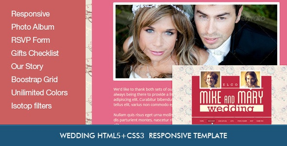 Wedding Retro HTML5 Template - Events Entertainment