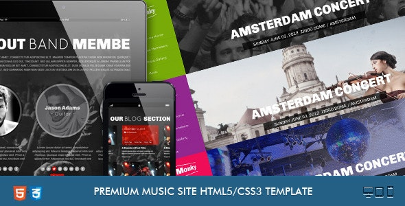 Monkey-Music Band Responsive Template - Music and Bands Entertainment