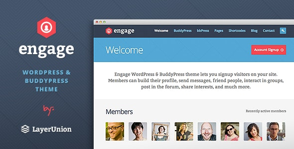 Engage - WordPress, BuddyPress, bbPress Theme - BuddyPress WordPress