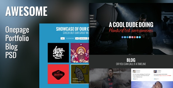 Awesome PSD Template - Onepage Portfolio & Blog - Creative Photoshop