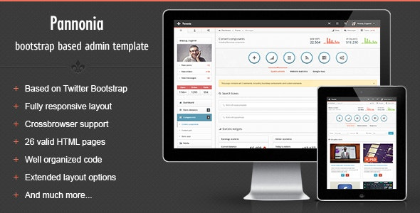Pannonia - fully responsive admin template - Admin Templates Site Templates