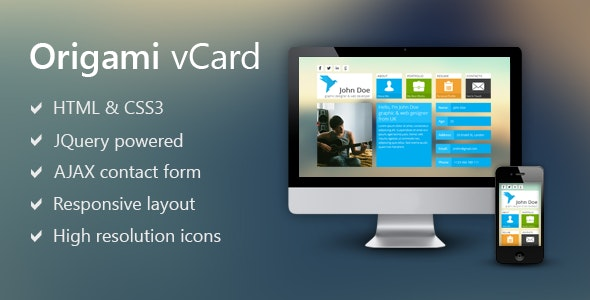 Origami - Metro Inspired Vcard - Virtual Business Card Personal