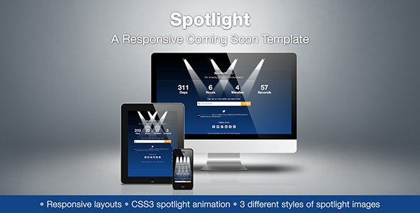 Spotlight - A Responsive Coming Soon Template - Under Construction Specialty Pages