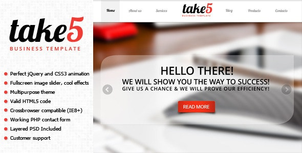 Take5 is a premium multipurpose template - Business Corporate