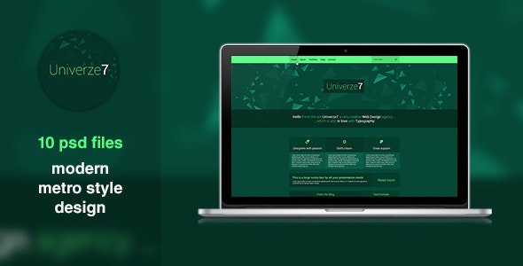 Univerze7 - Metro Style PSD Template - Portfolio Creative