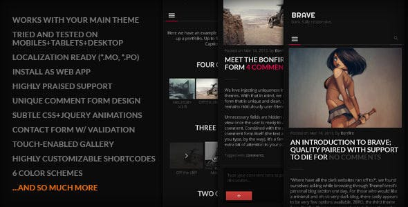 BRAVE - A dark, clean, fully responsive WP theme