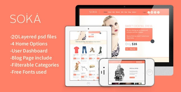 SOKA - PSD Templates Fashion Online Shop - Shopping Retail
