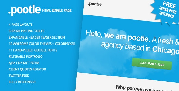 Pootle - Premium Responsive Single Page Template - Creative Site Templates