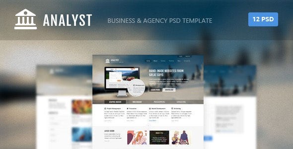 Analyst - Business & Agency PSD Template - Corporate PSD Templates