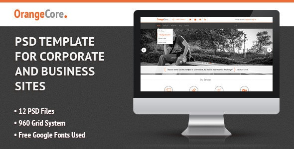 OrangeCore - PSD Template for Business Sites - Corporate Photoshop