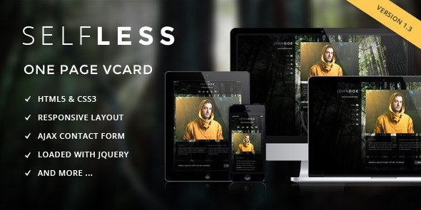 Selfless - One Page Personal VCard HTML5 Template - Resume / CV Specialty Pages