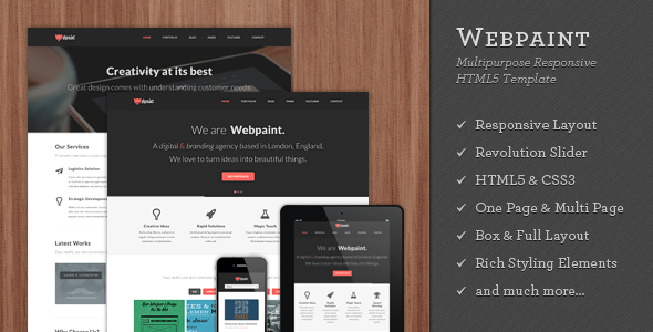 Webpaint - 2 in 1 Responsive HTML5 Template - Creative Site Templates