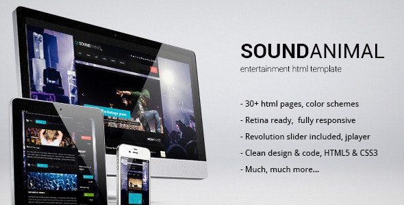 Sound Animal - Entertainment HTML Template - Music and Bands Entertainment