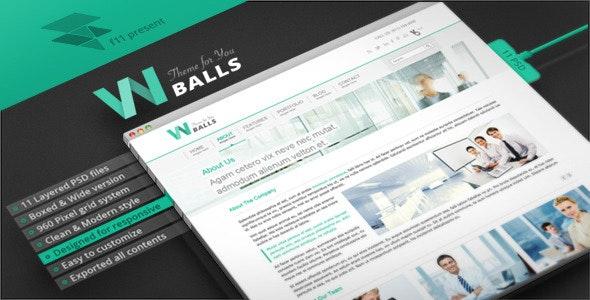 W Balls - PSD Template - Corporate PSD Templates