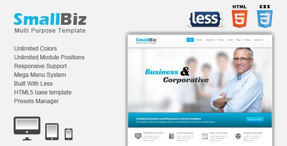 SmallBiz Responsive Multi Purpose Joomla Template - Business Corporate