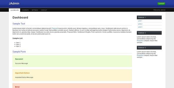 JAdmin - Admin Templates Site Templates