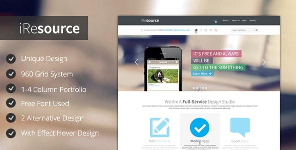 iResources - Creative One Page portfolio PSD Theme - Portfolio Creative