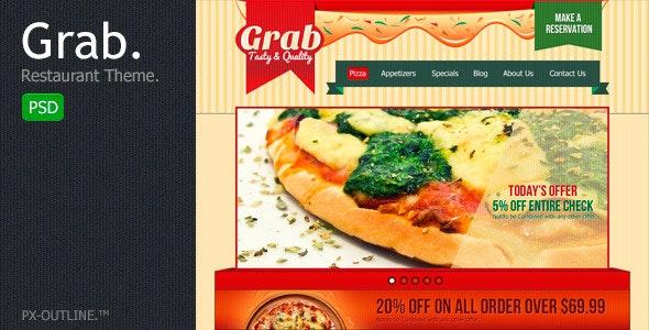 Grab Restaurant Theme Template - Restaurants & Cafes Entertainment