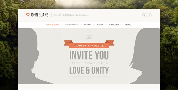 Wedding - Responsive Single Page WordPress Theme - Events Entertainment