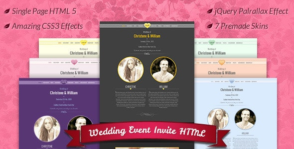 Wedding Event , Marriage Invite HTML Template - Entertainment Site Templates