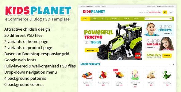 Kids Planet - eCommerce & Blog PSD Template - Children Retail
