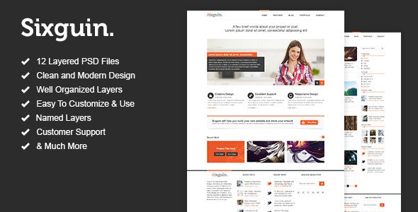 Sixguin - Modern PSD Template - Corporate Photoshop