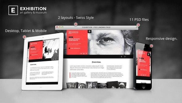 Exhibition - Art Gallery/ Museum PSD Landing page - Creative Photoshop
