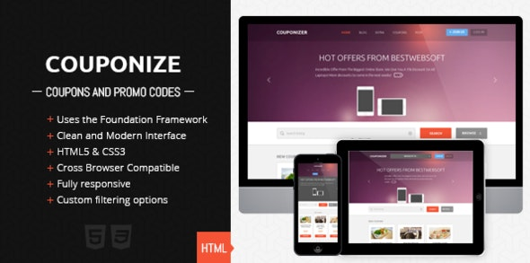Couponize - Responsive Coupons and Promo Template - Miscellaneous Site Templates