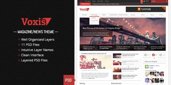 Voxis - Magazine / News PSD template - Creative Photoshop