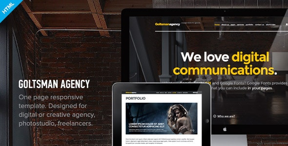 Goltsman Agency - One Page Responsive Template - Creative Site Templates