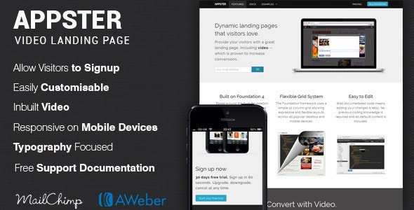 Appster Video App & Software Landing Page - Landing Pages Marketing