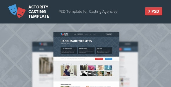 Actority - PSD Template for Casting Agencies - Corporate Photoshop