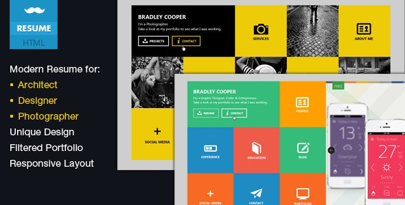 Cooper - vCard & Portfolio Metro HTML Template - Resume / CV Specialty Pages