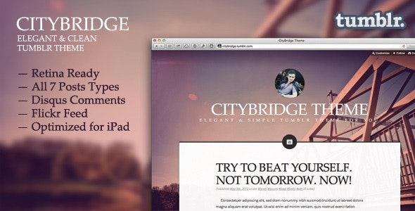CityBridge — Retina Tumblr Blog Theme - Tumblr Blogging