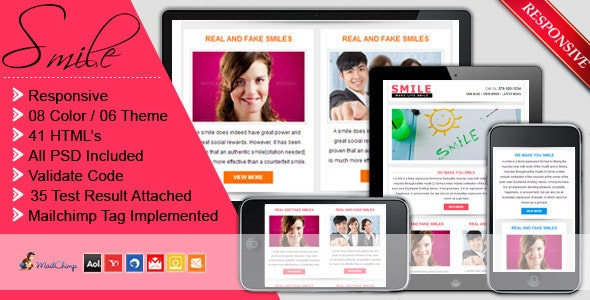 SMILE - Responsive + Business + Mailchimp E-mail - Newsletters Email Templates