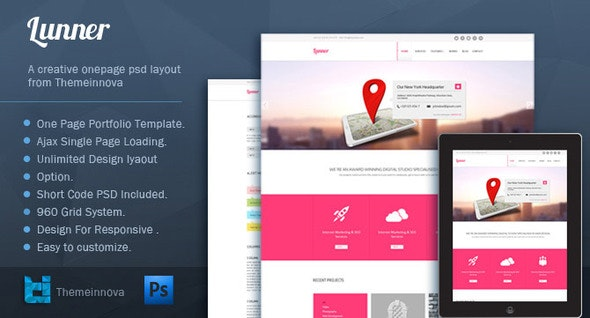Lunner - One Page Portfolio Template - Portfolio Creative