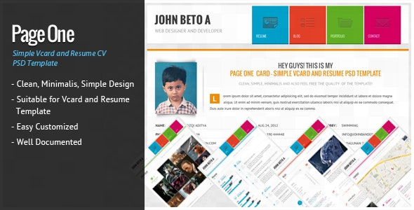 Page One - Simple Vcard and Resume CV Template - Virtual Business Card Personal