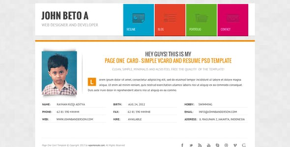 Page One - Simple Vcard and Resume CV Template