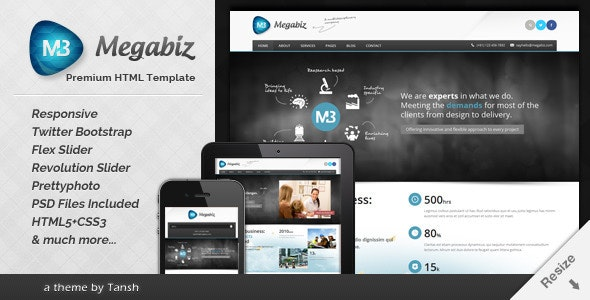 Megabiz Responsive HTML/CSS Template - Business Corporate