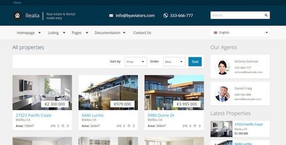 Realia - Retina Responsive Real Estate Template