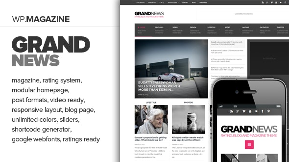 GrandNews - Responsive Rating Magazine Theme - News / Editorial Blog / Magazine