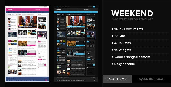 Weekend - Magazine & Blog - Photoshop UI Templates